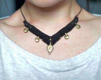 Ethnic bib brass beads
