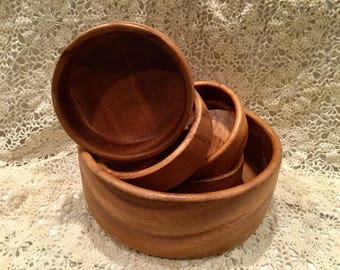 Vintage wooden salad bowl set