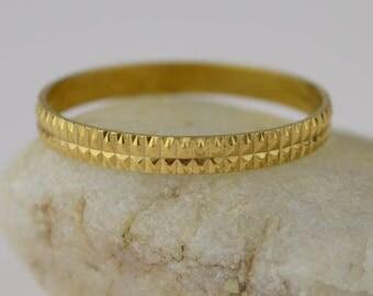 18k Yellow Gold Estate Diamond Cut Italy Milor Band/ring Size 7(01622)