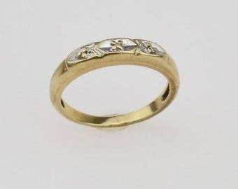 14k Yellow Gold Antique Diamond Band Size 6.5