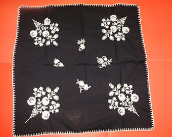 Vintage,Hungarian handmade embroidered black  tablecloth centerpiece,white flower pattern