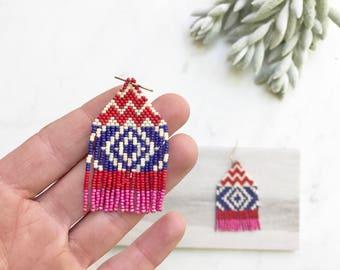 Boho Tassel Earrings, Beaded Fringe Earrings, Bohemian Jewelry