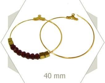 12 Golden AG18 40mm hoop earrings