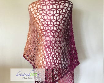 Coral Ombre Shawl / Handmade Crochet / Women's Gift Idea / Lacy / Coral / Burgundy / Purple / Pink / Peach / One Size