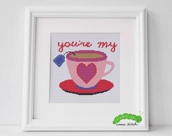 My Cup of Tea Valentine's Cross Stitch PDF Pattern Digital Download