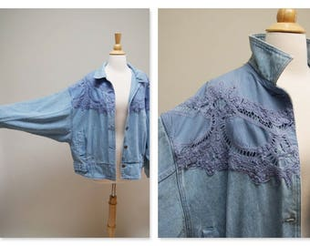 Vintage 1980s Batwing Sleeve Jean Jacket ⎮ 80s Denim Crochet Lace Jacket ⎮ Purple Classic Jean Jacket