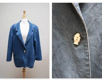 1980s Denim Blazer ⎮ 80s Jean Blazer Jacket ⎮ Vintage Blue Boho Jacket