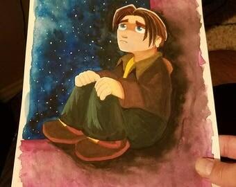 "Disney Treasure Planet ""Jim Hawkins"" 8x10 ORIGINAL Gouache Painting"
