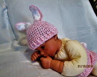 Pink Fluffy Bunny Ears Hat and Diaper Cover! Great Easter Photo Prop! Pink and white yarn. Cute Fluffy Bunny tail!