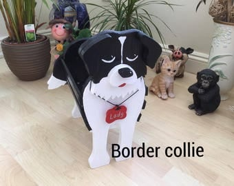 BORDER COLLIE,wooden dog planter ,garden ornament,pet loss gifts,