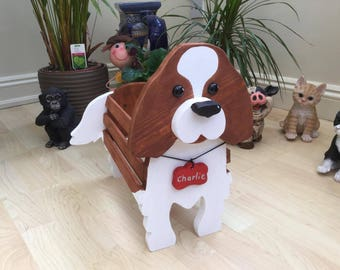 CAVALIER KING CHARLES,wooden dog, planter,garden ornament,