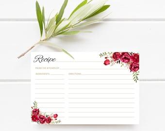 Bridal Shower Recipe Cards, Recipe Card Printable