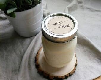 white birch - 16 oz mason jar - hand poured soy candle