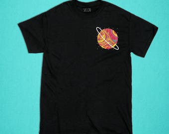 Black T-shirt - Orange Planet