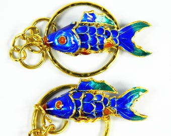"A Pair Of 1.4"" Blue Cloisonne Copper Enamel Articulated Carp Koi Fish Figurine,Making Pendant Earrings Eardrops Jewelry Ornament Component"