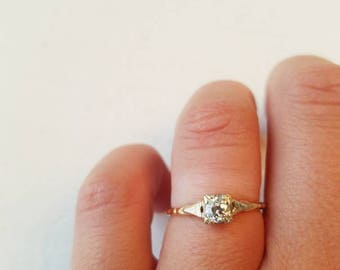 1930s /ART DECO/ engagement ring / .30 carat / 14k yellow gold and white gold / wedding ring