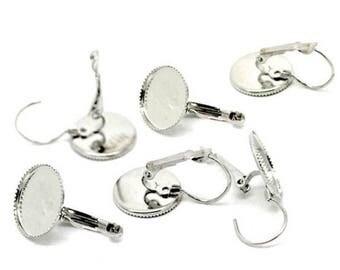 10 blank tray Silver earrings 14 mm cabochon