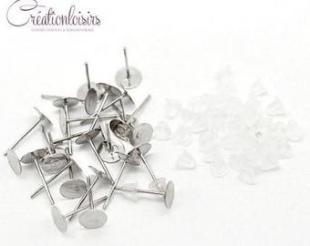 100 jewelry studs rods for fimo ends 12 x 6 mm earrings