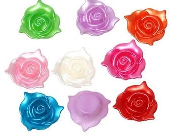 10 Rose flower 21mm random color acrylic beads