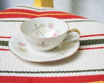 German Porcelain Vintage Teacup with Dessert Plate
