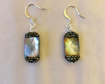 Abalone and Druzy Dangle Earrings