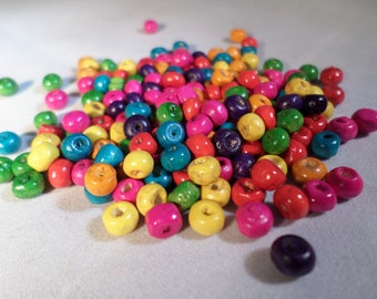 Wooden beads, Wood beads, Painted wooden beads, Craft beads, Jewellery making, Beads, Craft beads, Wooden, Round, 5.5mm, Various colours