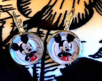 Handmade Mickey Mouse cabochon earrings- 16mm
