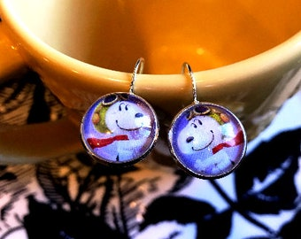 Handmade Snoopy Flying Ace cabochon earrings- 16mm
