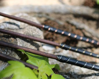 Magic Wand - Leather Handle and Wire Embedded - Wiccan Wand, Pagan Wand, Wizard Wand, Magical Girl Wand, Wood Wand, Witch Wand,  Magick Wand