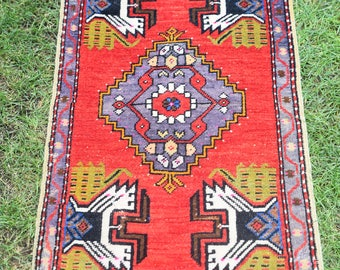 Tribal Ethnic Turkish Rug, Home Decor Rug, Vintage Handwoven Rug, Yastik,  Kitchen