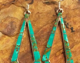 Native American Jewelry Sterling Silver Turquoise Inlay Dangle Earrings Copper Matrix