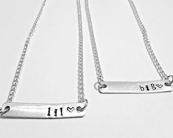 Big Little Gift, Big Little Sorority, Sorority Sister, Big Sister, Little Sister, Sister Necklaces, Hand Stamped Necklaces, Greek Life