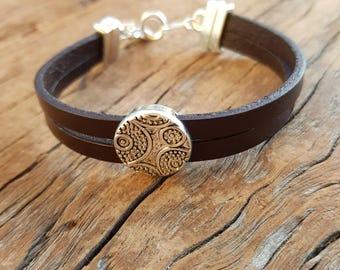 Leather bracelet; Men's bracelet; Unisex bracelet; Men's leather bracelet; Brown leather bracelet; Silver bracelet;