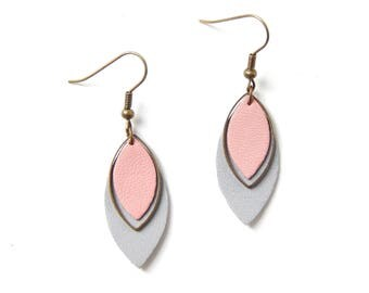 Pia pink and gray earrings