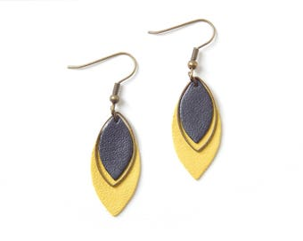 Yellow earrings Pia and graphite