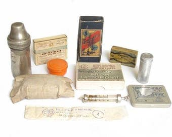 Antiques Medical and Apothecary Collection Set. Pills, Bottles, Ampoules, Bandage Gauze, Needles. Antique Medicine, Mix Different Items