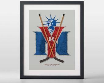 New York Rangers-inspired Hockey Art Print