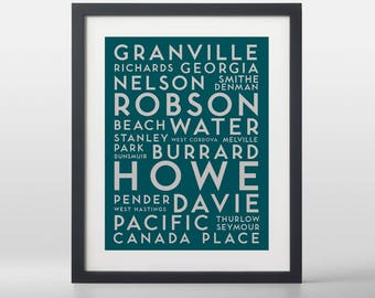 Vancouver Central City Streets Typography Art Print
