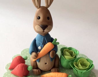 Peter Rabbit fondant cake topper and  8 vegetables