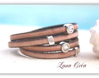 Leather strap Beige Vintage 2 rounds - silver Zamak and Swarovski beads