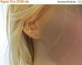 SALE - Wave earrings climbers up the ear, gold ear cuff, gold ear crawler, gold ear pin earrings
