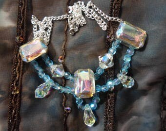 Iridescent turquoise and Rainbow necklace