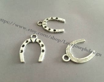 wholesale 100 Pieces /Lot Antique Silver Plated 21mmx11mm horseshoe charms (#0101)