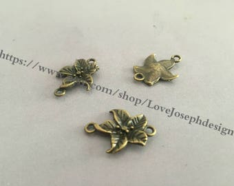 50 Pieces /Lot Antique Bronze Plated 15mmx21mm flower connector charms--prefect for bracelet(#0275)