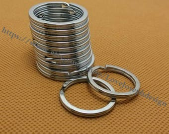 wholesale 100 Pieces /Lot Antique silver Plated 28mm stainless double Split key ring