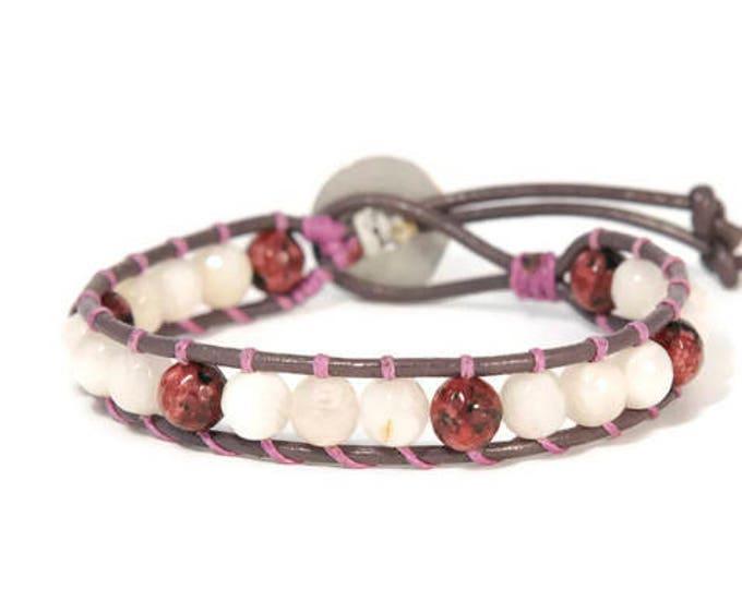 Boho Roza * Single Wrap Bracelet. Boho Style. Bohemian Jewelry. Semiprecious stones. Gift for her. Cuff Bracelet.