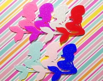 5pcs- 72mm decoden cabochon mermaids mixed colors glitter resin laser cut flatback phone case deco supply kawaii jewelry embellishment