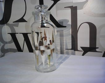 Vintage Glass  Apothecary Jar with Glass Lid, Glass Candy Jar,  FREE SHIPPING