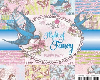 two pockets 15.2 36 papers x 15.2 cm WILD pink FLIGHT OF FANCY