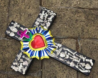Sacred Heart Milagro Cross-Milagros-Mexican Folk Art-Metaphysical Shop-Ex Voto Heart-Brings Love, Harmony, Health & Joy